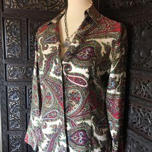 100% Silk scarf Talbots petites paisley blouse 12